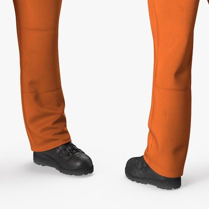 Factory Worker Orange Overalls Standing Pose. Render 12