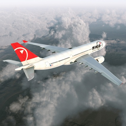 Jet Airliner Airbus A330-200 Northwest Airlines Rigged. Render 9