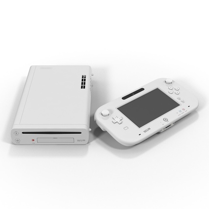 Nintendo Wii U Set White. Render 7