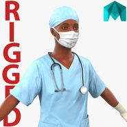 Female Surgeon African American Rigged for Maya