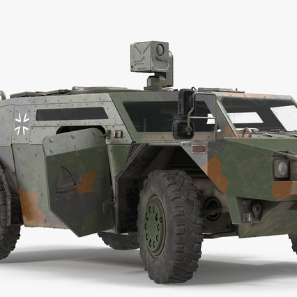 Fennek German Reconnaissance Vehicle Rigged. Render 11