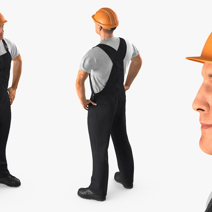 Construction Worker Black Uniform with Hardhat Standing. Render 6