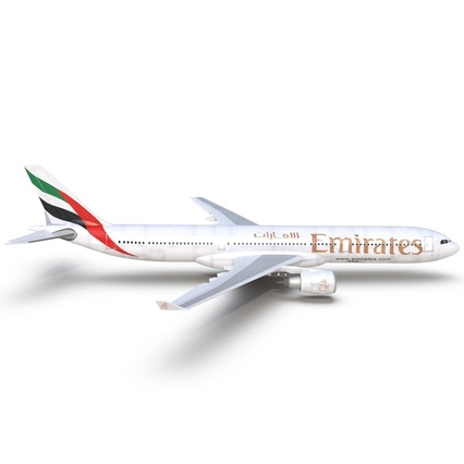 Jet Airliner Airbus A330-300 Emirates Rigged. Render 25