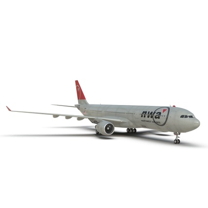 Jet Airliner Airbus A330-300 Northwest Airlines Rigged. Render 34