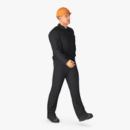 Worker With Hardhat Walking Pose