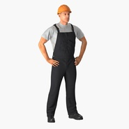 Construction Worker Black Uniform with Hardhat Standing. Preview 3
