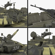 T72 Main Battle Tank Camo Rigged. Preview 16