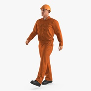 Worker Orange Uniform with Hardhat Walking Pose