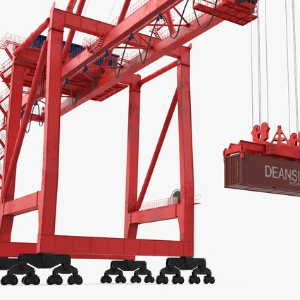 Port Container Crane Red with Container. Render 15