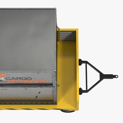Airport Luggage Trolley with Container. Render 9