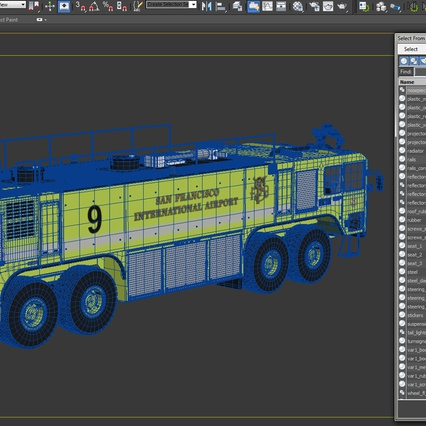 Oshkosh Striker 4500 Aircraft Rescue and Firefighting Vehicle Rigged. Render 31