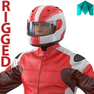 Motorcycle Rider Generic 2 Rigged for Maya