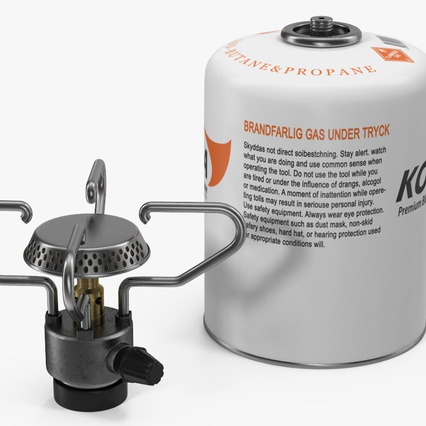 Gas Cylinder with Camping Stove Kovea. Render 11