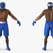 African American Boxer Rigged for Cinema 4D. Preview 8