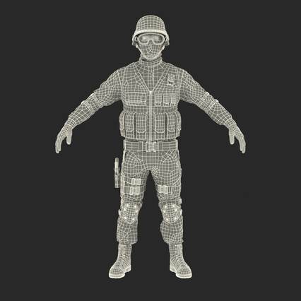 SWAT Man Mediterranean Rigged for Maya. Render 3