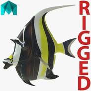 Moorish Idol Fish Rigged for Maya