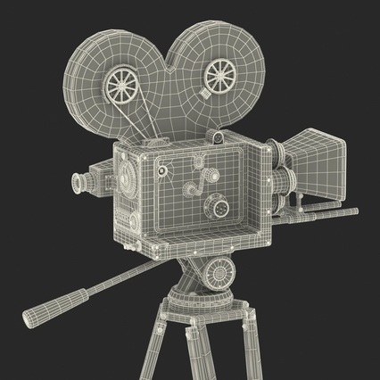 Vintage Video Camera and Tripod. Render 42