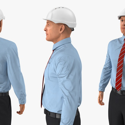 Construction Engineer in Hardhat Standing Pose. Render 9
