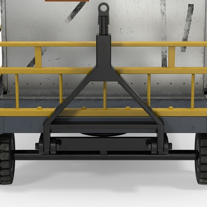 Airport Luggage Trolley Baggage Trailer with Container. Render 20