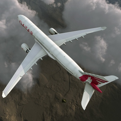 Jet Airliner Airbus A330-300 Qatar Rigged. Render 10