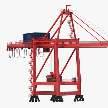 Port Container Crane Red with Container. Render 3