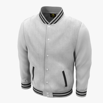 White Baseball Jacket. Render 1