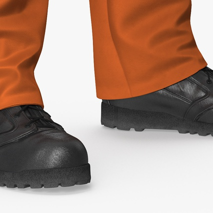 Worker In Orange Overalls Standing Pose. Render 14