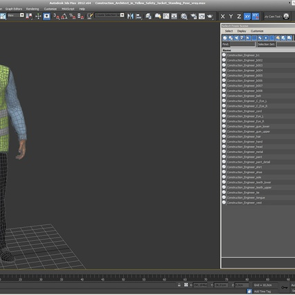 Construction Architect in Yellow Safety Jacket Standing Pose. Render 19