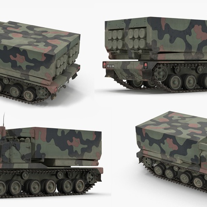 US Multiple Rocket Launcher M270 MLRS Camo. Render 12