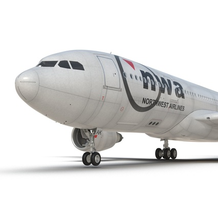 Jet Airliner Airbus A330-200 Northwest Airlines Rigged. Render 44