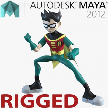 Robin Cartoon Character Rigged for Maya. Render 1