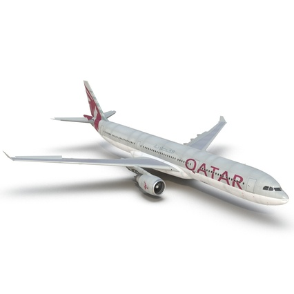 Jet Airliner Airbus A330-300 Qatar Rigged. Render 26