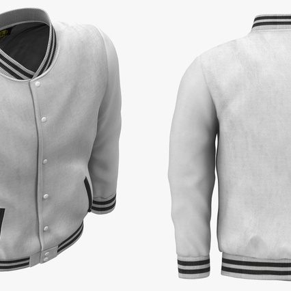 White Baseball Jacket. Render 6