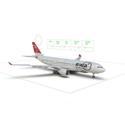Jet Airliner Airbus A330-200 Northwest Airlines Rigged. Render 52