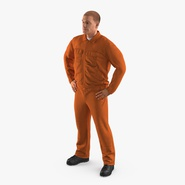 Factory Worker Orange Overalls Standing Pose. Preview 1