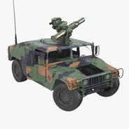 HMMWV TOW Missile Carrier M966 Camo Rigged