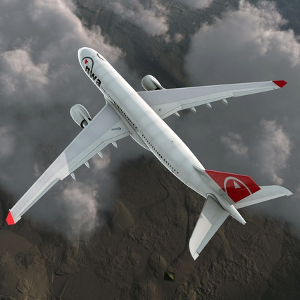 Jet Airliner Airbus A330-200 Northwest Airlines Rigged. Render 10