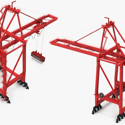 Port Container Crane Red with Container. Render 13