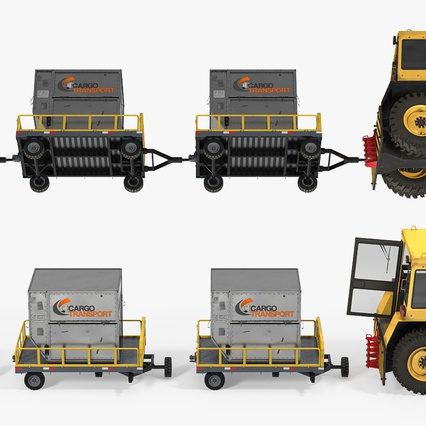 Push Back Tractor Hallam HE50 Carrying Passengers Luggage Rigged. Render 12