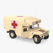 Ambulance Car HMMWV m997 Rigged Desert