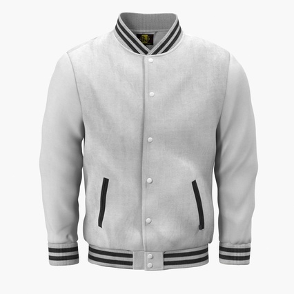 White Baseball Jacket. Render 3