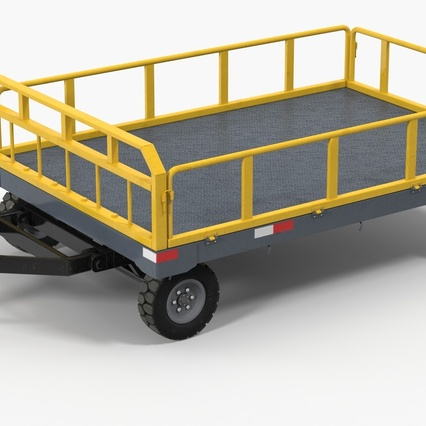 Airport Luggage Trolley Baggage Trailer with Container. Render 4