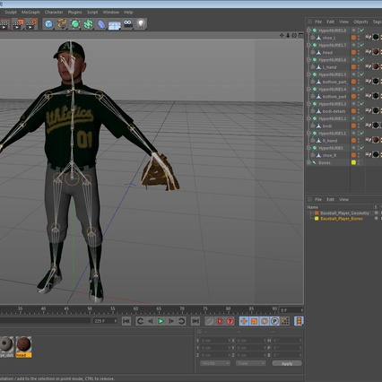 Baseball Player Rigged Athletics for Cinema 4D. Render 19