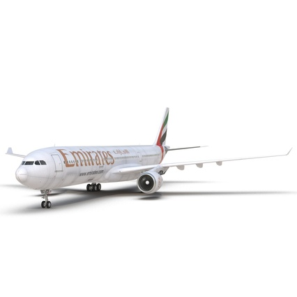 Jet Airliner Airbus A330-300 Emirates Rigged. Render 31