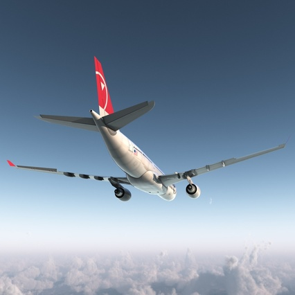 Jet Airliner Airbus A330-200 Northwest Airlines Rigged. Render 12