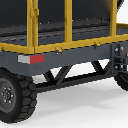 Airport Luggage Trolley Baggage Trailer with Container. Render 21