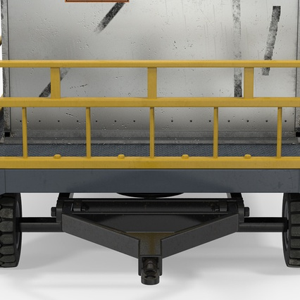 Airport Luggage Trolley Baggage Trailer with Container. Render 19