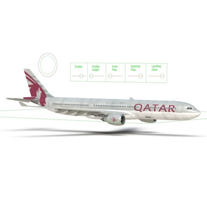 Jet Airliner Airbus A330-300 Qatar Rigged. Render 50