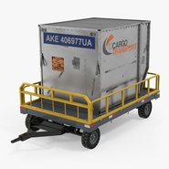 Airport Luggage Trolley Baggage Trailer with Container Rigged