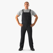 Construction Worker Black Uniform Standing Pose. Preview 2